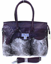 Ladies Designer Inspired Fur Faux Leather Padlock Mock Croc Shoulder Bag Handbag
