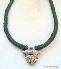 old silver jewelry pendant necklace vintage antique handmade ethnic indian