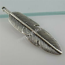 12238 6PCS Alloy Charm Feather Pendant Jewelry Finding Vintage Silver Tone