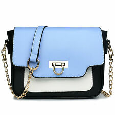 Women Gold Chain Strap Handbag Cross Body Shoulder Tote Bag Satchel Blue