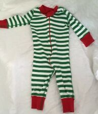 Hanna Andersson Green White Stripe Red Trim Long Johns Pajamas 60 6 9 Months