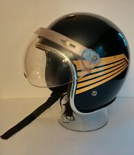VTG Arthur Fulmer Af-40 Large Bobber/Open face Motorcycle Helmet,Black-Gold Wing