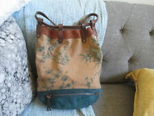 LUCKY BRAND PRINTED CANVAS SUEDE TRIMS LARGE BACKPACK BAG