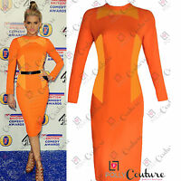Womens Celeb Long Sleeve Backless Bodycon Pencil Midi Ladies Party Evening Dress
