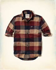 NWT Hollister Abercrombie Mens Guys Brown Navy Plaid Flannel Button Rare Shirt S