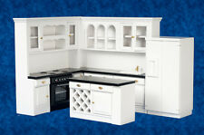 MINIATURE DOLLS HOUSE 12th SCALE FULL KITCHEN SET BLACK & WHITE NEW 4 PIECE