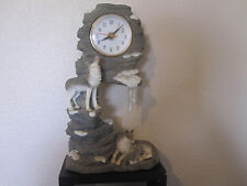 "Wolf Wolves Resin Figurine w/Clock ~ 11"" Tall"