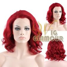 """Short Wavy 11"""" Red Lace Front Synthetic Wig Heat Resistant"""