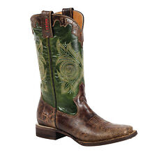 Rocky HandHewn Square Toe Western Cowgirl Green Brown RW019 Women's 7M