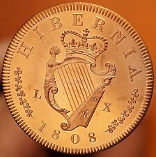 1808 Ireland Retro Pattern Proof Crown Pure Copper George III Hibernia