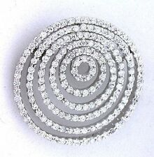 Concentric Round Circle Abstract CZ Cubic Zirconia Sterling Silver Brooch Pin