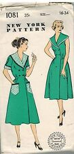 1081 Vintage New York Sewing Pattern Misses Pretty Practical Brunch Coat Dress