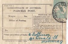 Stamp Kangaroo 1/- green 3rd watermark from parcel label Footscray scarce useage