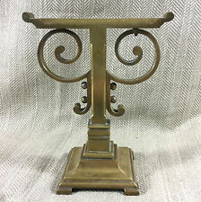 Antique Brass Fire Dog Poker Tool Rest Stand Ornate Cast  Victorian Vintage Vtg