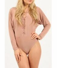 NEW WOMENS LADIES SLINKY LACE UP V NECK LONG SLEEVE BODYSUIT LEOTARD SEXY TOP