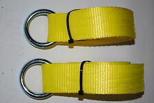 2 10' LASSO STRAP 20,000 lb WEB CAR HAULER TRAILER TIE DOWN STRAP WHEEL STRAPS