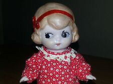 "6"" German Bisque Googlie Doll, Painted Molded Hair"