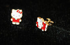 14k yellow gold hello kitty style baby stud earrings enamel red new