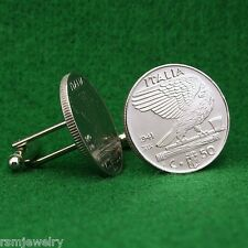 Italian Vintage WW2 Eagle on Axe Coin Cufflinks, 50c, Kingdom of Italy