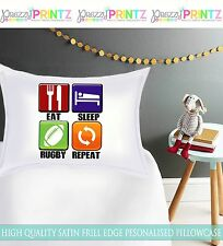 PERSONALISED EAT SLEEP RUGBY REPEAT PILLOWCASE BOYS CHRISTMAS BIRTHDAY GIFT