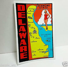 State of Delaware Vintage Style Travel Decal / Vinyl Sticker, Luggage Label