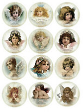 "30 Vintage Christmas Angel round circle 1.5"" glossy stickers scrap booking"