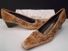 NEW SERGIO ROSSI TAN PONY HAIR IRIDESCENT BEADS & EMBROIDERY LADIES SHOES 36