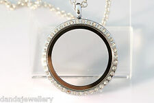 30mm Crystal Floating Locket REVERSIBLE Round Living Memory White Gold + Charm!