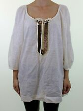 MONSOON cream embroidered cotton blouse with sequin embellishment size 14 eu 42