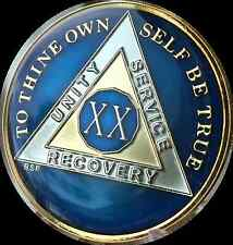 20 Year Midnight Blue AA Medallion Alcoholics Anonymous Chip Gold Tri-Plate XX