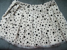 WOMENS BEIGE TOPSHOP SHORT SKIRT MESH TOP WITH BLACK FELT SPOTS UK 12 EU 40 BNWT
