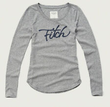 NWT Abercrombie & Fitch Women Long Sleeve Logo Graphic T Shirt Top M Light Grey