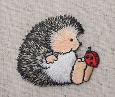 Iron-On Applique Embroidered Patch Hedgehog sitting with Ladybug on his Toe