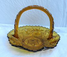 Art Deco Amber Pressed Glass Basket / Fruit Bowl / Flower Basket