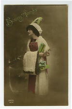 1910's French Glamour PRETTY YOUNG LADY Fashion tinted photo postcard