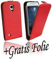 Zubehör für Samsung Galaxy S4 Mini i9195 Klapptasche Tasche + Folie // ROT