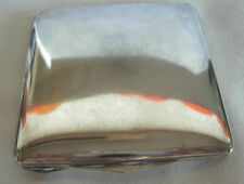 VINTAGE 800 SILVER WOMAN'S SQUARE  COMPACT WITH MIRROR & POWDER PUFF