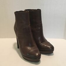 Trouve Drive Platform Ankle Boot Women's Size 9 M Brown Leather Antique Detail