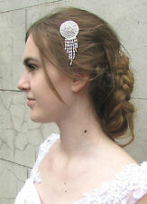 Silver Cascading Chain Hair Comb Bridal Vintage Art Deco Headpiece 1920s 30s 4AN