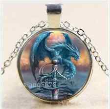 NEW Dragon and Sword Cabochon Glass Tibet Silver Chain Pendant Necklace,