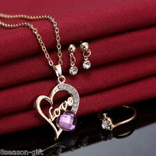 GIFT 1Set Fashion Gold Plated Rhinestone Heart Pendant Errings Necklace Rings