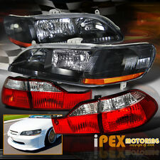 1998-2000 Honda Accord Sedan 4Dr JDM Black Headlights + Clear Red Tail Lights