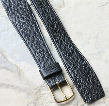 Wire lugs band Hirsch 18mm black Saddle Leather vintage open-ended watch strap