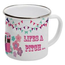 Personalised Lifes a Pitch Caravan EM04 Enamel Mug Cup Tin Metal Outdoor Gift