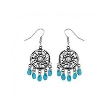 Boucles d'Oreilles Crochets Indien / Ethnique Filigranes Perles Turquoises