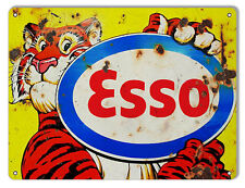 Aged Looking Tiger ESSO Motor Oil Sign 9X12