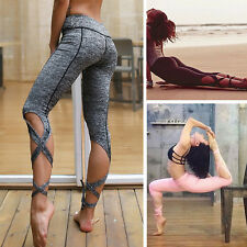 Women YOGA Running Sport Pants High Waist Workout Leggings Fitness Trousers L