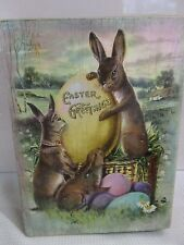 Primitive Vintage Style Easter Rabbit EASTER GREETINGS Wood Sign Decoration