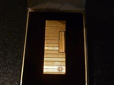 Rare Patterned Dunhill Rollagas Gold Plated Lighter  Boxed - Very Good Condition