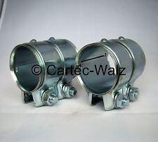 2 Piezas Conector del tubo de escape/Abrazadera doble 50 x 80 mm para BMW,FIAT,